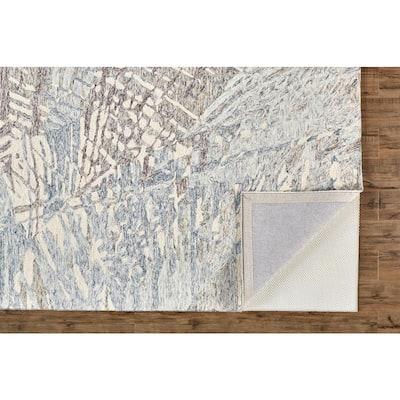 Veran Denim Blue/Rust Orange 8 ft. x 10 ft. Abstract Wool Area Rug