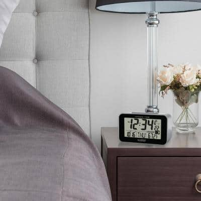 Atomic Digital Table Alarm Clock with Temperature and Moon Phase