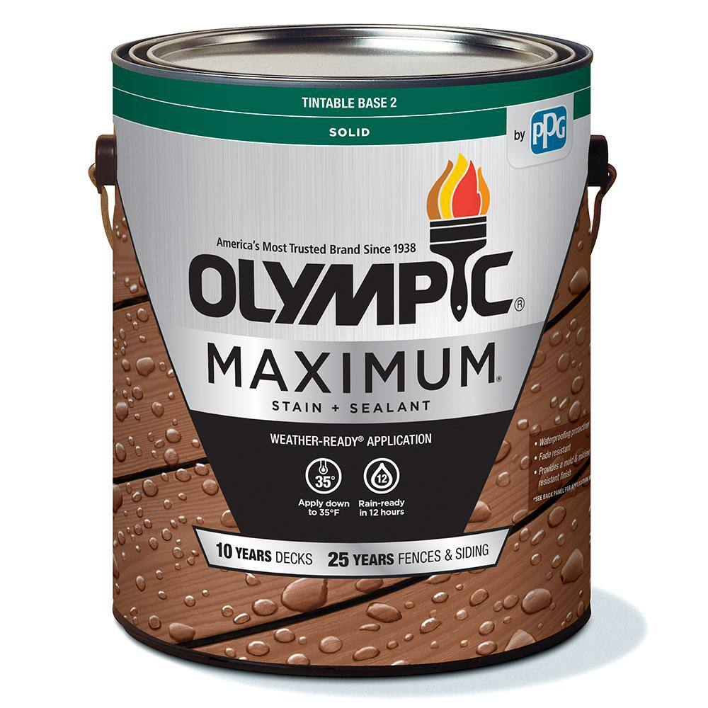 Olympic Maximum 1 Gal Autumn Sand Solid Color Exterior Stain And Sealant In One Oly211 01 The Home Depot