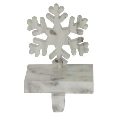 7.25 in. Black and White Marbled Snowflake Christmas Stocking Holder