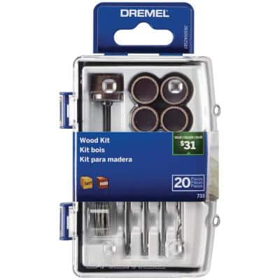Wood Working Rotary Tool Accessory Kit (20-Piece)