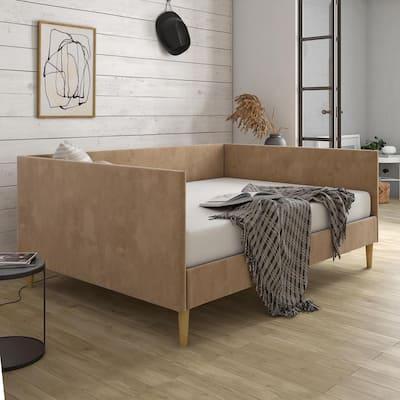 Felicia Tan Velvet Upholstered Mid Century Full Daybed