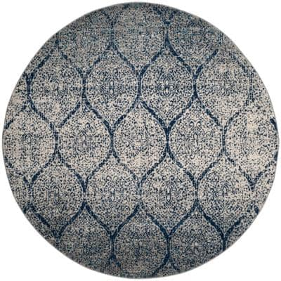 Madison Navy/Silver 9 ft. x 9 ft. Round Medallion Area Rug