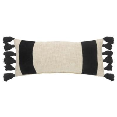 Trending Off White / Black Color Block Fringe Cozy Poly-fill 28 in. x 12 in. Throw Pillow