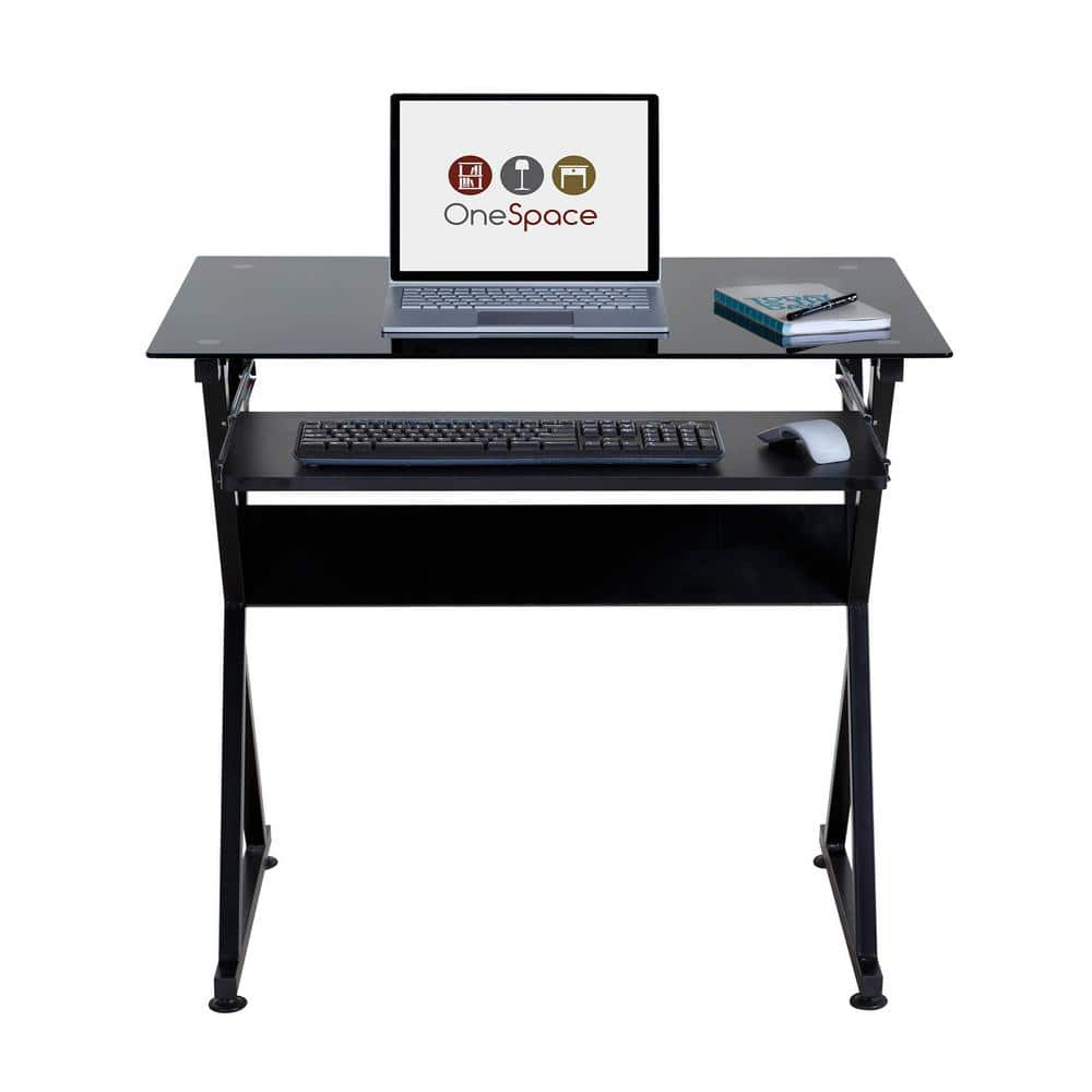 Onespace 38 In Rectangular Black Computer Desk With Keyboard Tray 50 Jn1205 The Home Depot