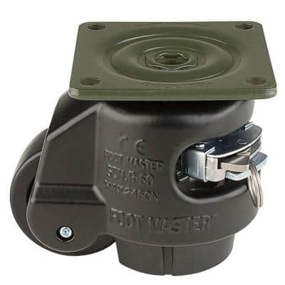 2-1/2 in. Nylon Wheel Top Plate Ratcheting Leveling Caster with Load Rating 1100 lbs.