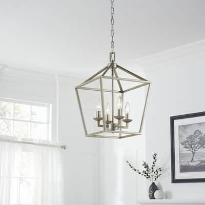 Weyburn 4-Light Antique Silver Leaf Caged Chandelier