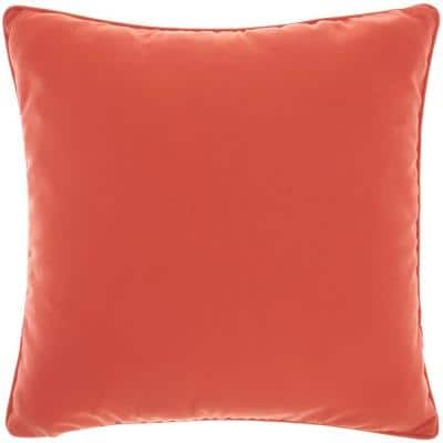 Outdoor Pillows Coral 18 in. x 18 in. Solid Color Indoor/Outdoor Throw Pillow