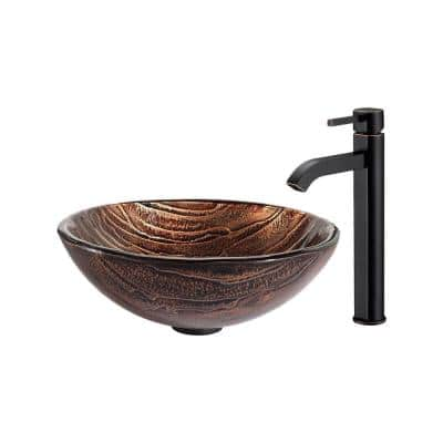 Gaia Glass Vessel Sink in Brown with Ramus Faucet in Oil Rubbed Bronze