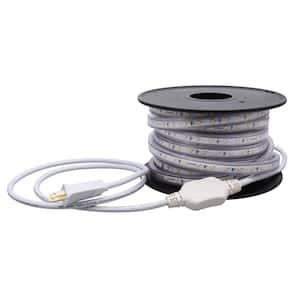 32.8 ft. 60-Watt Plug-In Outdoor Flex LED Landscape Lighting Deck Rail Lights Set Bright White 4000K, White