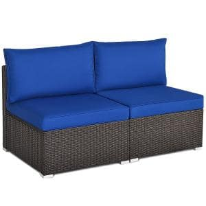 Brown 2-Piece Wicker Outdoor Sectional Rattan Armless Sofa with Navy Cushions