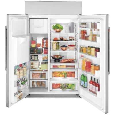 28.7 cu. ft. Smart Built-In Side by Side Refrigerator with Hands Free Autofill Dispenser in Stainless Steel