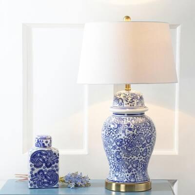 Ellis 29.5 in. H Ceramic Table Lamp, Blue/White