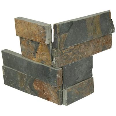 Gold Rush Mini Ledger Panel Corner 4.5 in. x 9 in. Natural Split Face Slate Wall Tile (4 sq. ft./Case