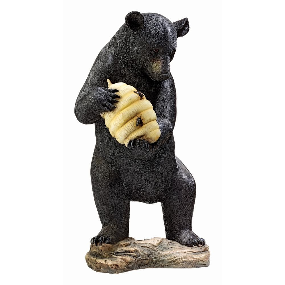 Design Toscano Beehive Black Bear Stone Bonded Resin Piped Spitting Statue Ky1029 The Home Depot