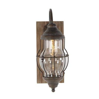 17 in. Brown Wood and Iron LED Wall Sconce