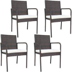 Brown Back Support Wicker Outdoor Dining Chair with Beige Cushions (4-Pack)