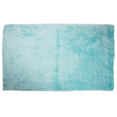 5 ft. x 7 ft. Faux Sheepskin Rug, Solid Blue Extra Large Plush Anti-Skid Area Rug