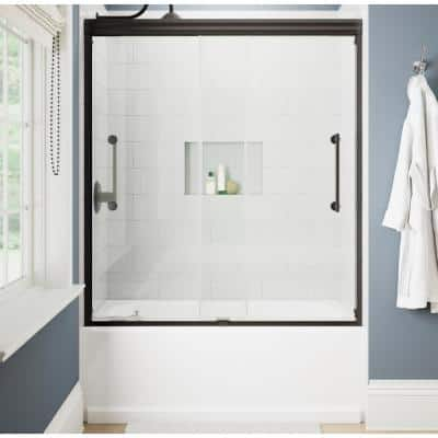 Ashmore 60 in. W x 60-3/8 in. H Sliding Frameless Bathtub Door in Bronze with 5/16 in. (8 mm) Clear Glass
