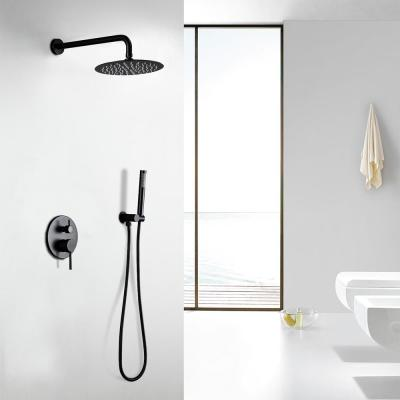 2-Spray Patterns 4 GPM 10 in. Dual Shower Head and Handheld Shower Head with Body Spray in Matte Black
