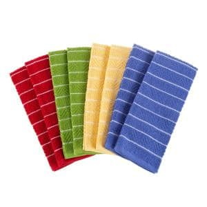100% Cotton Striped Chevron Weave Kitchen Towels (Set of 8)