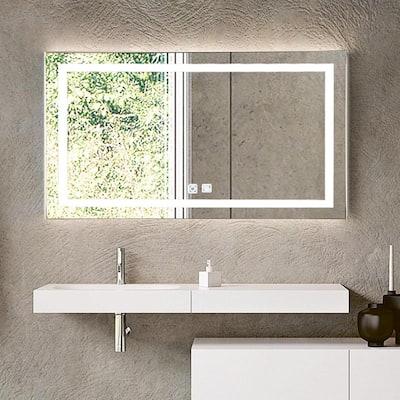 40 in. W x 24 in. H Frameless Rectangular Anti-Fog LED Light Bathroom Vanity Mirror in Brushed Nickel