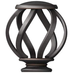Mix and Match Swirl Cage 1 in. Curtain Rod Finial in Oil-Rubbed Bronze (2-Pack)
