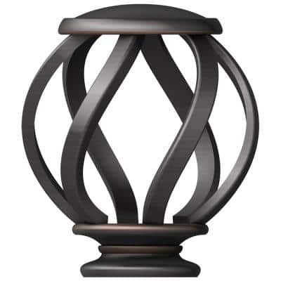 Mix and Match 1 in. Swirl Cage Curtain Rod Finial Set in Oil Rubbed Bronze (2-Pack)