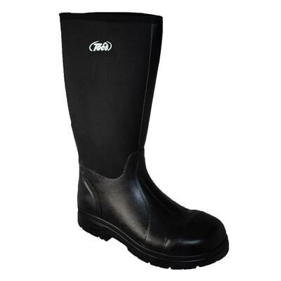 Men's 16 in. Cement Rubber Boots -Steel Toe - Black - Size 9(M)