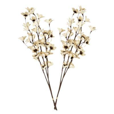 32 in. White Deco Flowers Dried Natural (2-Pack)