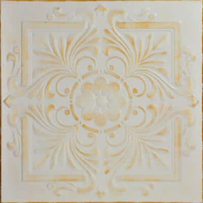 Victorian 1.6 ft. x 1.6 ft. Glue Up Foam Ceiling Tile in White Washed Gold