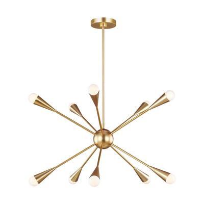 ED Ellen DeGeneres Jax 10-Light Burnished Brass Mid-Century Modern Hanging Sputnik Chandelier with Swivel Canopy