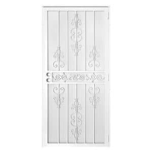 36 in. x 80 in. El Dorado White Surface Mount Outswing Steel Security Door with Heavy-Duty Expanded Metal Screen