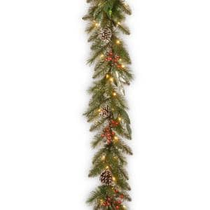 9 ft. x 12 in. Frosted Pine Berry Collection Garlands with Cones, Red Berries, Silver Glittered Eucalyptus Leaves