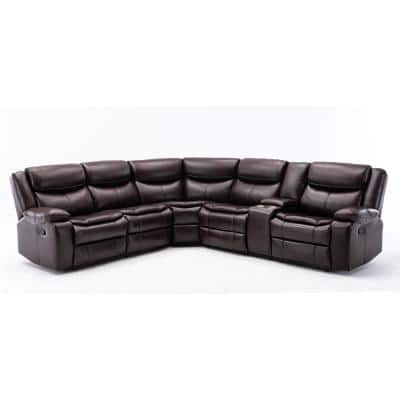 Mannual Motion Sofa 7 Piece Brown Faux Leather Symmetrical Sectionals with Reclining