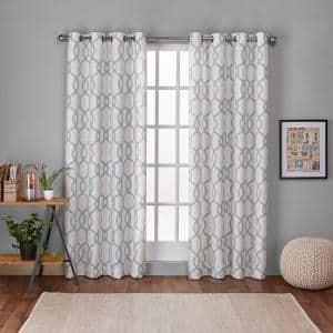 Seafoam Trellis Grommet Room Darkening Curtain - 54 in. W x 96 in. L (Set of 2)