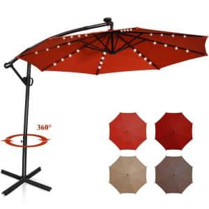 10 ft. Aluminum Offset Cantilever Solar Tilt Patio Umbrella LED Lights 360-Degrees Rotation Orange