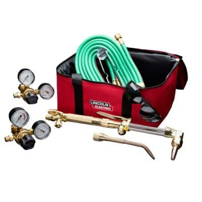 Cut Welder Kit with Torch, Oxygen and Acetylene Regulators, 3/16 in. x 12 ft. Hose, for Cutting Welding and Brazing