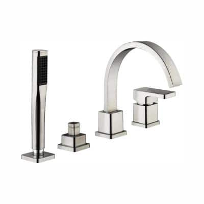 Marx Single-Handle Deck Mount Roman Tub Faucet with Handshower in Brushed Nickel