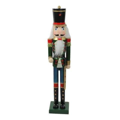 36.75 in. Green and Blue Glittered Wooden Christmas Nutcracker Soldier with Sword