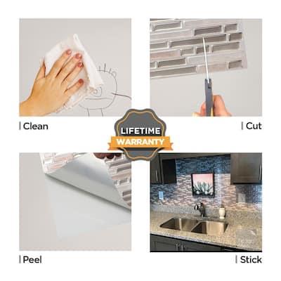 Como Sand 10 in. W x 10 in. H Peel an d Stick Self-Adhesive Decorative Mosaic Wall Tile Backsplash (10-Tiles)