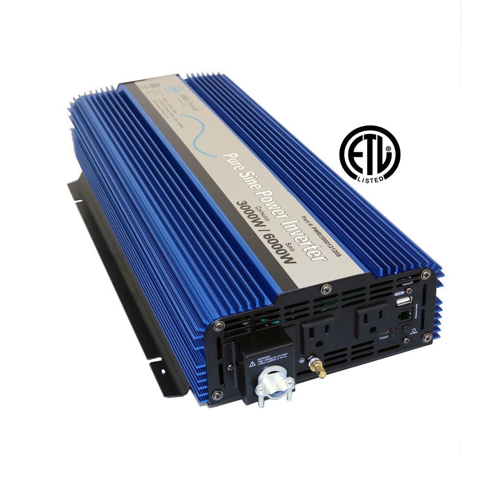 3,000 Pure Sine Inverter 12-Volt DC to 120-Volt AC ETL Listed to UL 458