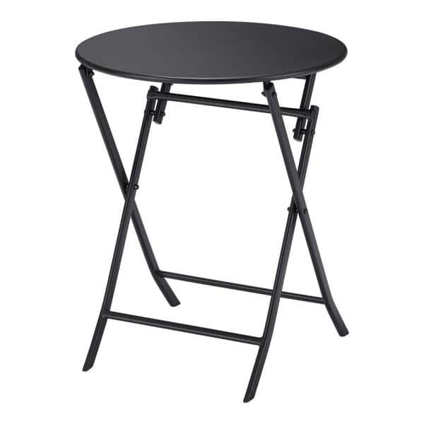 Stylewell Mix And Match 23 6 In Black, Small Round Folding Cafe Table