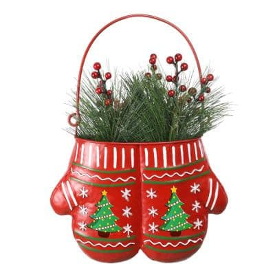 33 in. Tall Christmas Hanging Metal Red Mittens Planter with LED Light