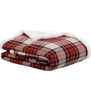 Flannel Edgewood Red Plaid Sherpa Reverse Throw Blanket