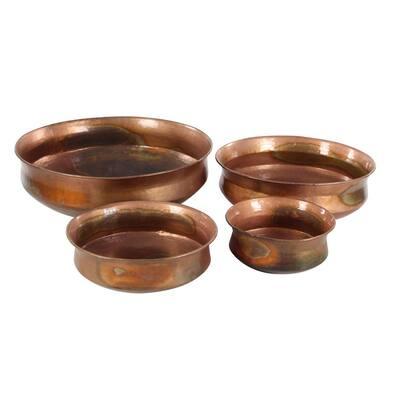 7 in. x 22 in. Copper Metal Rustic Planter (Set of 4)