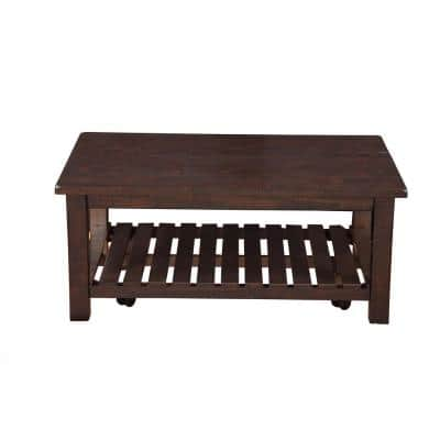 Barn Door 42 in. Espresso Large Rectangle Wood Coffee Table with Casters