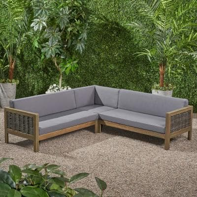 Linwood gray 3-Piece Wood and Wicker Outdoor Sectional Set with Dark gray Cushions