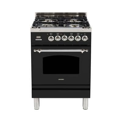 24 in. 2.4 cu. ft. Single Oven Italian Gas Range with True Convection, 4 Burners, Chrome Trim in Glossy Black