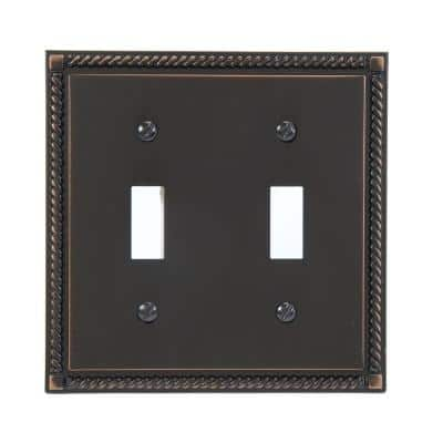 Georgian 2 Gang Toggle Metal Wall Plate - Aged Bronze